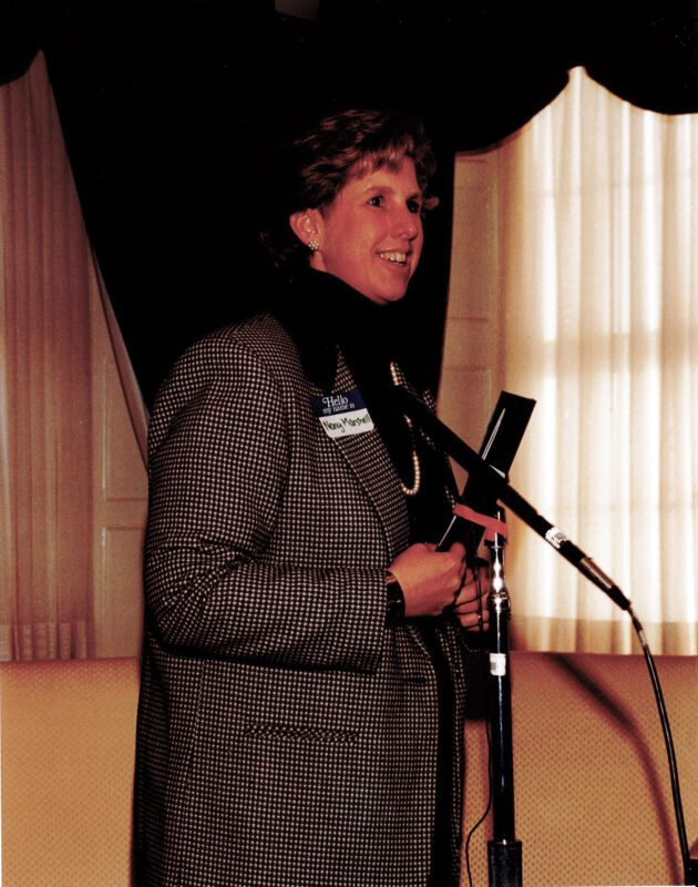Nancy speaking at the Blaine House in 1996