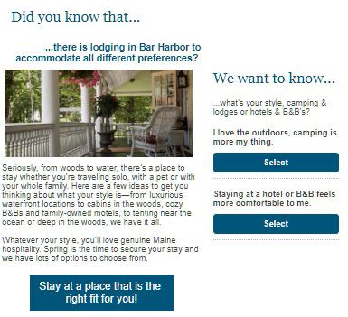 Bar Harbor e-newsletter poll feature