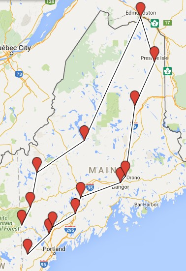 Map of Malerie Yolen-Cohen Maine itinerary