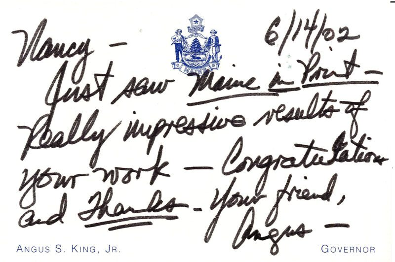 Note from Angus King