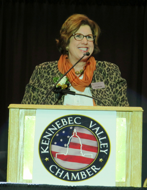 Nancy Marshall accepting the Presidents Award from the Kennebec Valley Chamber of Commerce