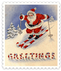 Santa skiing on candy canes