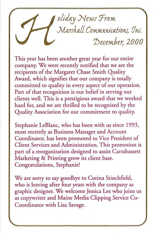 Margaret Chase Smith Quality Award in Holiday Note 2000